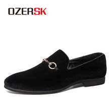 OZERSK 2021 New Big Size Men Shoes Slip On Black Shoes Suede High Quality Loafers Mens Shoes Italian Designer Shoes 38~48