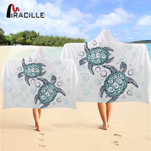 Miracille Turtles Hooded Towel Aquatic Sea Tortoise Bath With Hood Marine Animal Wearable Beach Wrap Blanket For Adults