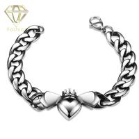 Cool Design 316L Stainless Steel Lobster Link Chain Bracelet With Romantic Heart Pendant Jewelry For Men