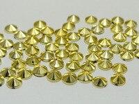 1000 Golden Acrylic Round Pyramid Flatback Rhinestone Gems 5mm Cone Shaped