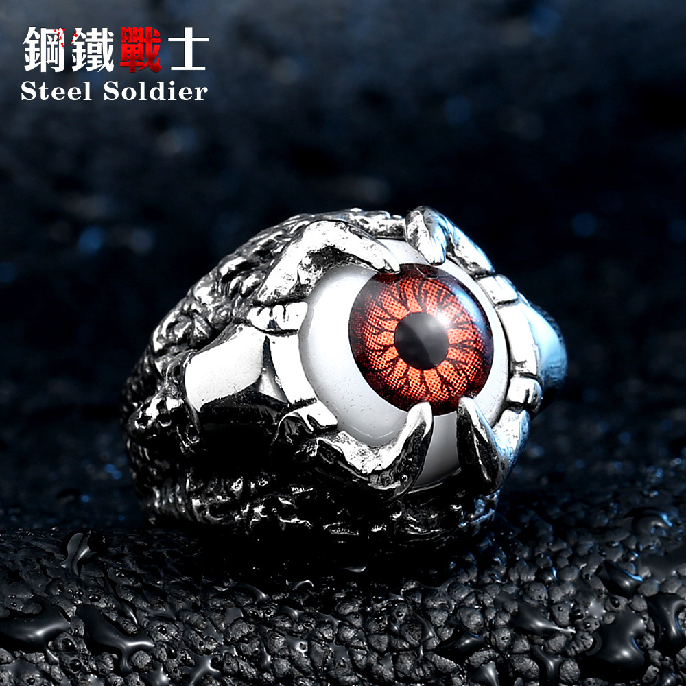 Single personality jewelry titanium steel male evil eye ring finger ring male adolescents personality