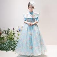 Китайский Стиль Дети бальное платье для девочек модные элегантные цветочные девочка Vestidos Bamquet День рождения Длинные платья + плащ S259