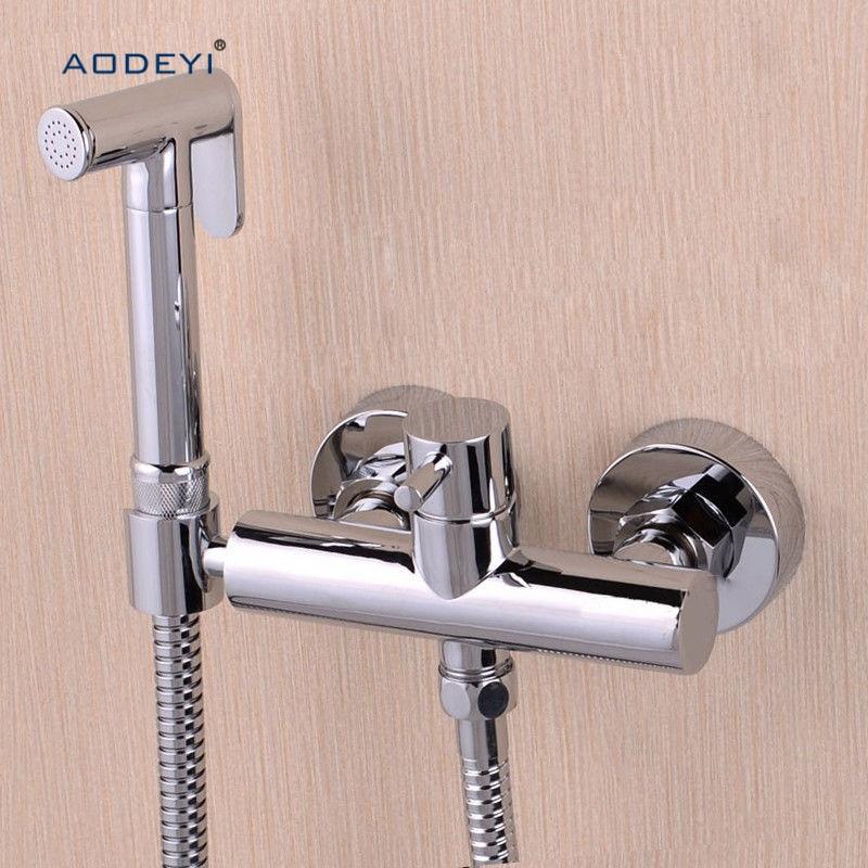 Toilet Bathroom Hand held Bidet Spray Shattaf Sprayer Jet Douche kit + Hot & Cold Water Valve with Holder + Hose halloween bloody hand pattern 3 pcs bathroom toilet mat