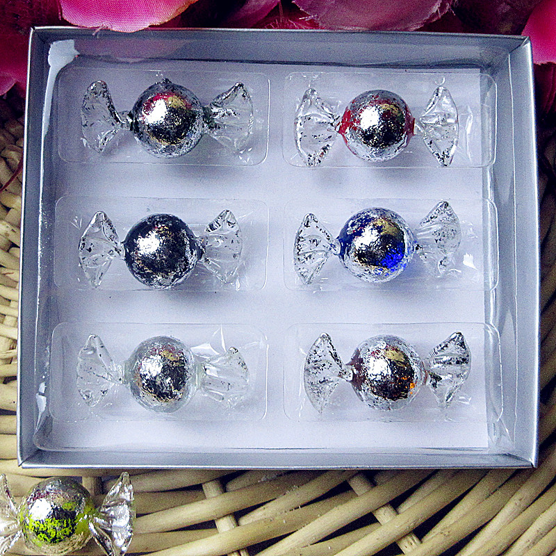 6pcs Custom hand blown antique foil glass candy ornaments Christmas decoration pendant accessories creative sweets gifts
