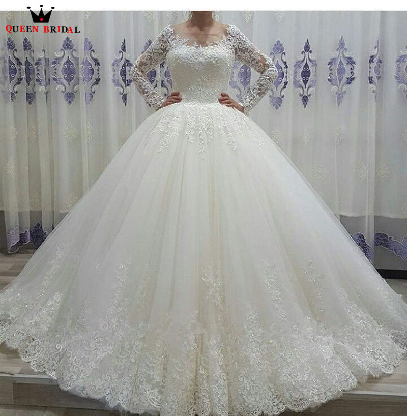 Custom Made Ball Gown Fluffy Lace Tulle Long Sleeve