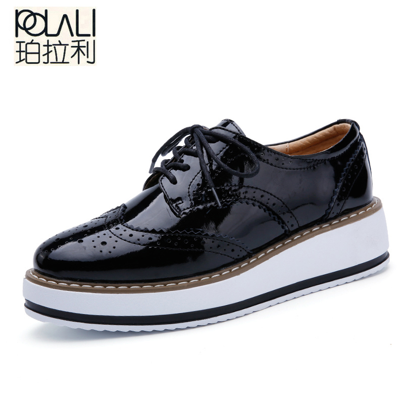 POLALI  Women Platform Oxfords Brogue Flats Shoes Patent Leather Lace Up Pointed Toe Brand Female Footwear Shoes  women Creepers(China)