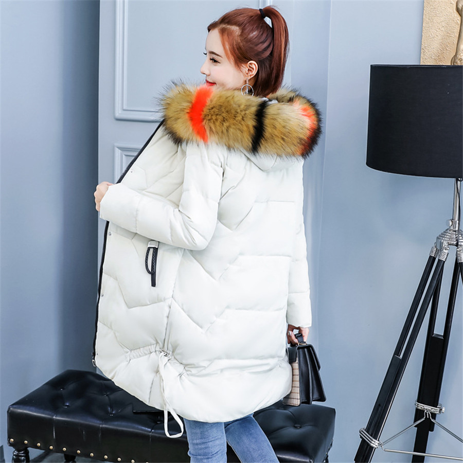 2018 New Women   Parkas   coat Winter Long jackets down cotton big fur collar loose styled jackets   parka   windproof warm 3XL