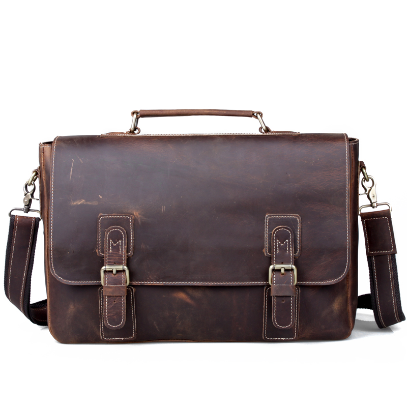 Cattle crazy horse leather commercial man bag male fashion vintage genuine leather cowhide handbag one shoulder briefcase 8069 hot selling crazy horse leather man bag vintage casual first layer of cowhide handbag one shoulder cross body computer bag 0201