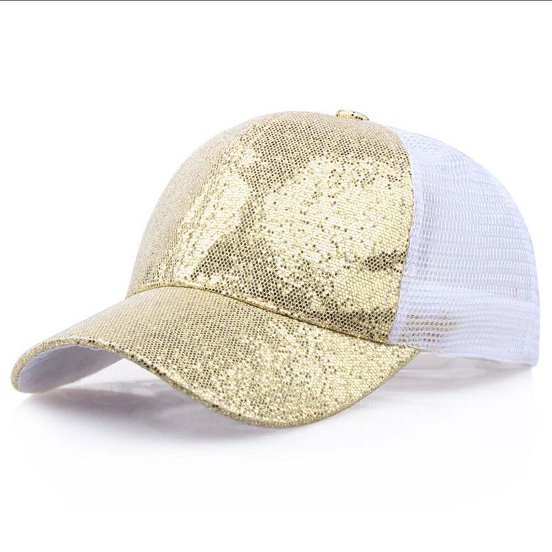Женская бейсбольная кепка с хвостиком для девочек, летняя блестящая Кепка с блестящим блеском,, летние модные уличные спортивные солнцезащитные очки, головные уборы - Цвет: gold