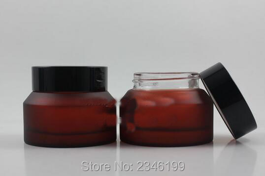 50G 50ML Glass Cosmetic Bottle, Skin Care Cream Packaging Jar, Rose Red Frost With Plastic Black Color Cream Jar, 12pcs/lot 3g cream box cream bottle sample bottle gift packaging bottle 50pcs