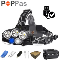POPPAS Led Headlight 3xXML T6 2xR2 Flashlight Lamp 5 Modes Torch For Outdoor Sports Camping Biking