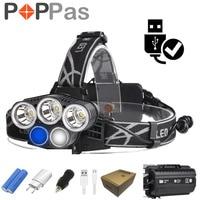 POPPAS Led Headlight 3xXML T6 2xR2 Flashlight Lamp 5 Modes Torch For Outdoor Sports Camping Biking