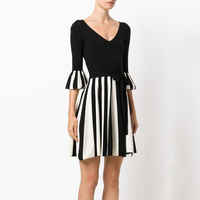 2017 Autumn Sexy Striped Dress Celebrity Flare Sleeve Knitted Dresses