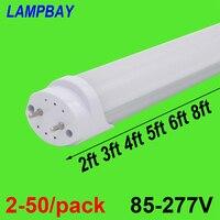 2-50/pack led 튜브 전구 2ft 3ft 4ft 5ft 6ft 형광등 0.6m 0.9m 1.2m 1.5m 1.8m t8 g13 바 램프 24