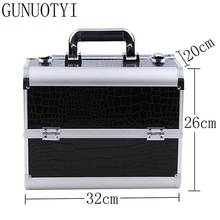 GUNUOYI Hot Sales Women Cosmetic Case PU Leather Professional Aluminum Makeup Cases Delicate Strong Cosmetic Bag Case GY-02