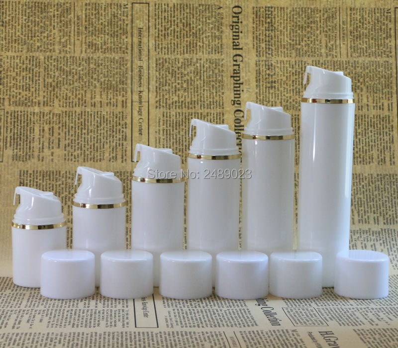Image 5 - 50ml 100ml White cap Airless Pump Bottles With Golden line Plastic  Airless Bottle Vacuum cosmetic Lotion Containers 10 pcs/lot-in Refillable Bottles from Beauty & Health