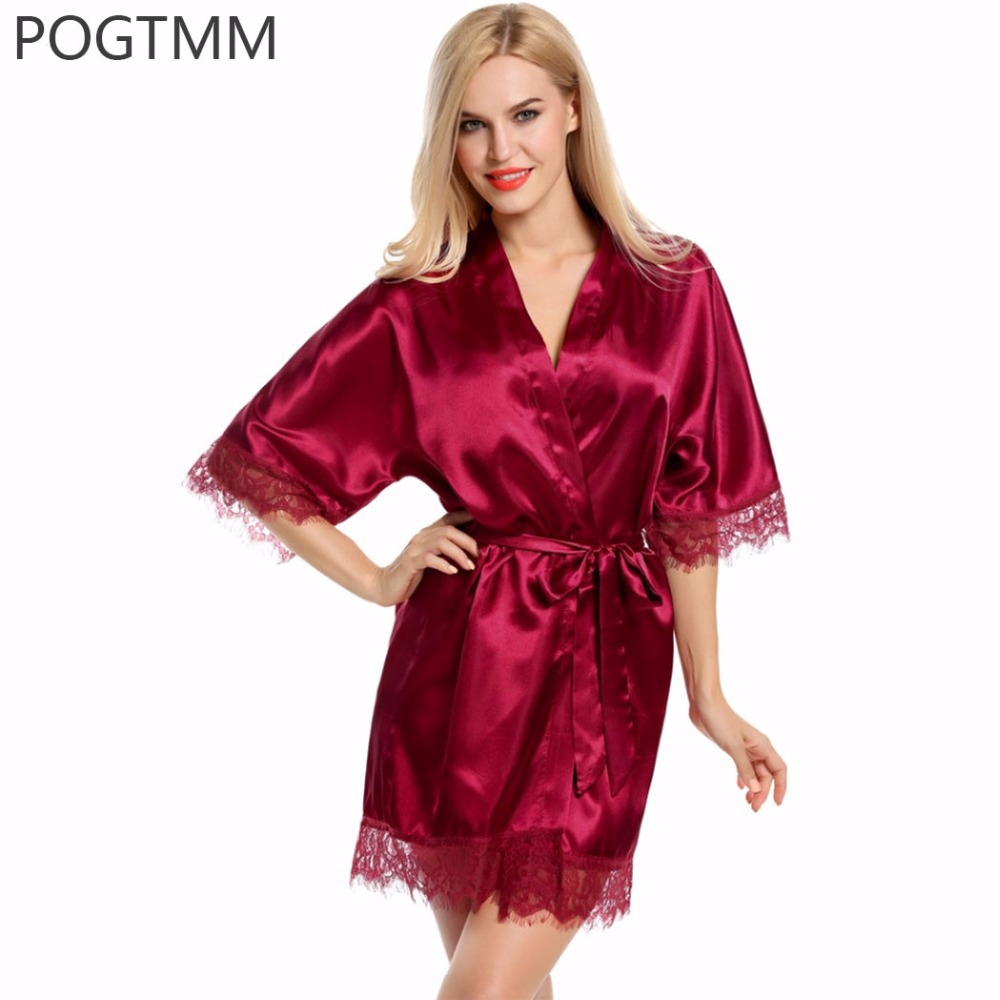 Sexy Wedding Bridal Dressing Gown Women Satin Bride Robe Bridesmaid Lace Kimono Bathrobe Summer Nightwear Plus Size Peignoir Red
