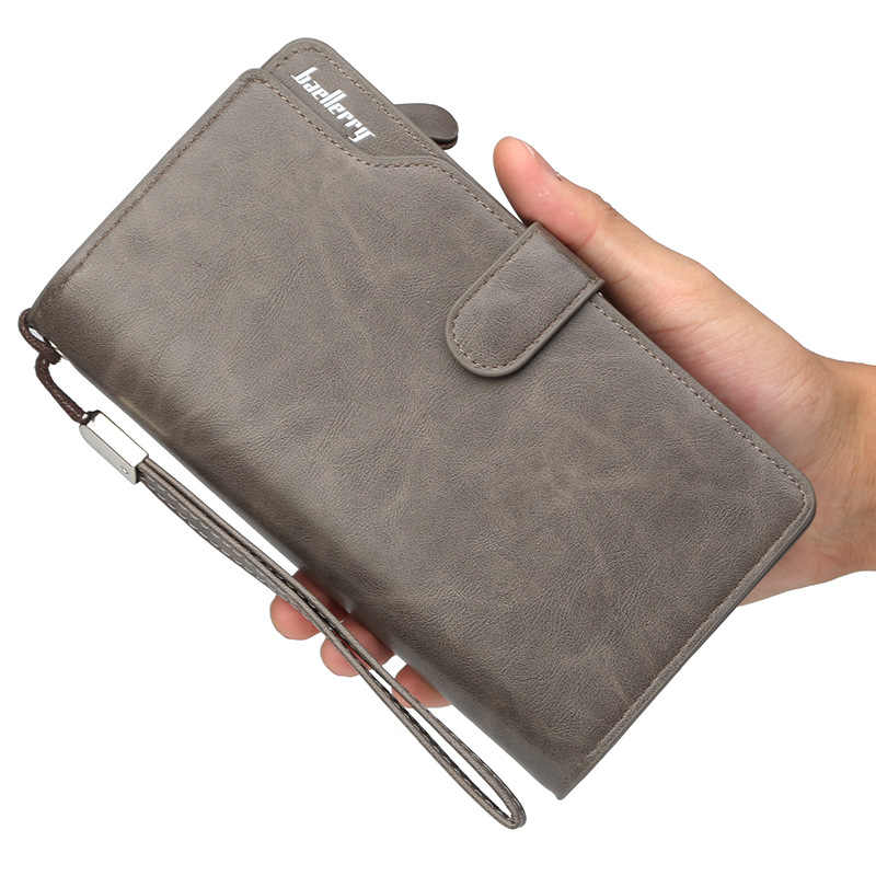 Hot Selling! Fashion Men's Clutch bag Leather Wallet 3 folds black brown gray long men wallet business card holder walelts 2018
