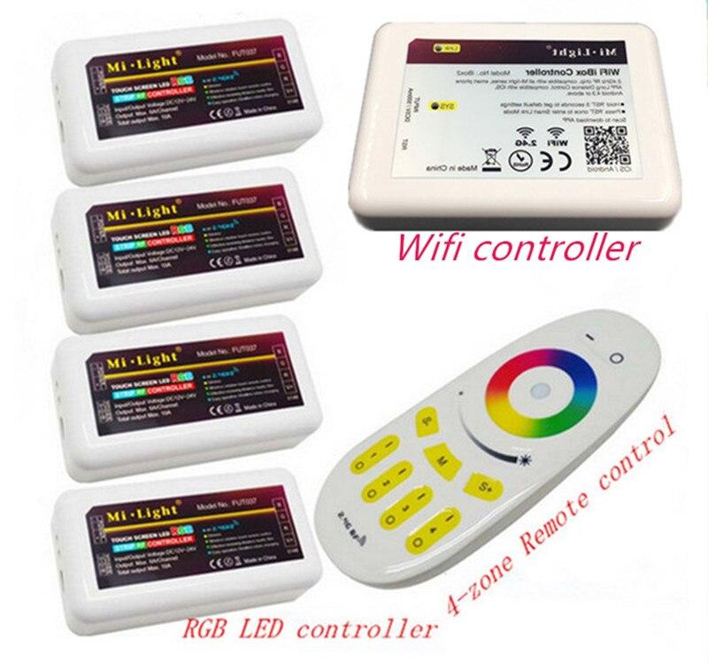 DC12v 2,4G RGBW mi luz wifi inalámbrico remoto RF + 4 piezas * 3 Canal 4 zonas 18A controlador + 1 piezas * Wifi controlador de Led 5 V