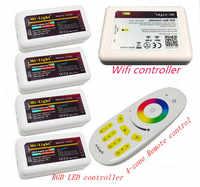 Dc12v 2.4グラムrgbw mi 光ワイヤレスwifi rfリモート+ 4ピース* 3ウェイチャンネル4ゾーン18aコントローラ+ 1ピース* wifi ledコントローラ5ボル