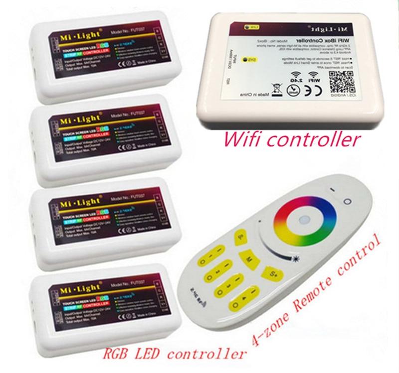 Dc12v 2.4g rgbw mi licht draadloze wifi rf afstandsbediening 4 stks * 3 Way Kanaals 4 Zones 18A Controller + 1 stks * Wifi Led Controller 5 V