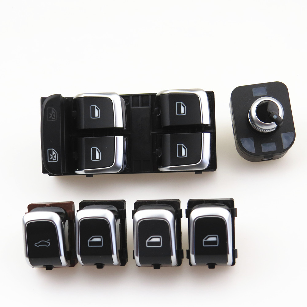 ZUCZUG Qty 6 Chrome Rearview Mirror Window Glass Lift Master Control Switch Knob Set For A4 S4 A5 Q5 8KD 959 851 A 4GD 959 565 A free shipping for kia sportage door window switch with side mirror switch window lifter switch