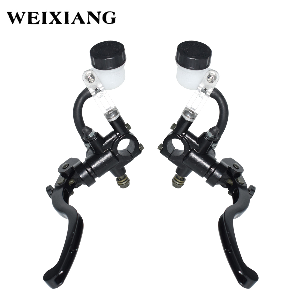 Universal 7/8 22mm Front Left & Right Motorcycle Push Type Brake Pump Adjuatble Master Cylinder Black Disc Brake Lever 7 8 left