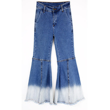High Style Retro Patchwork Ladies Stitching Slim Stretch Flared Wide Jeans AD9547