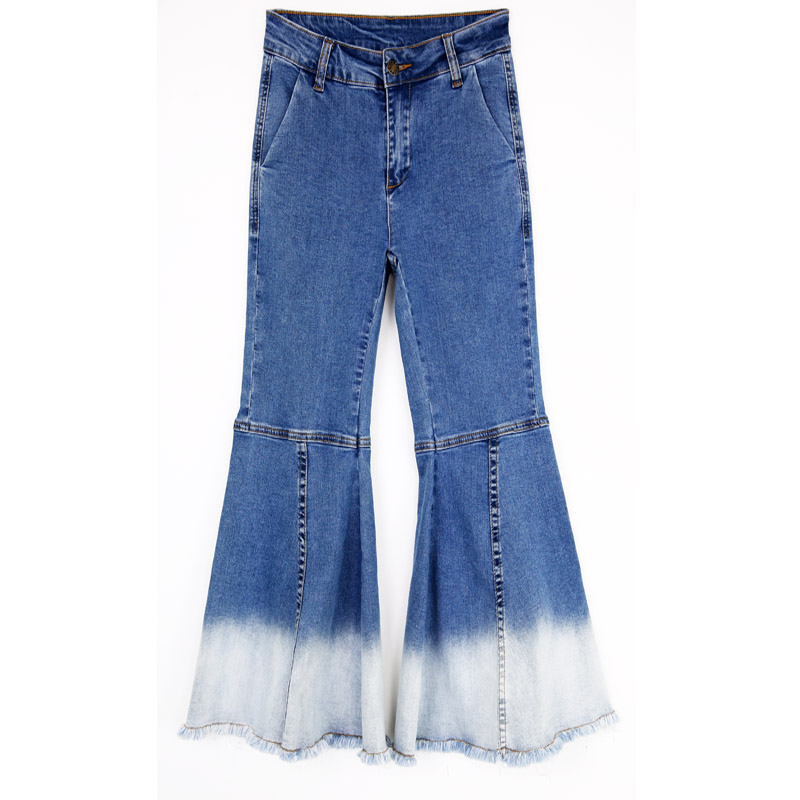 High Style Retro Patchwork Ladies Stitching Slim Stretch Flared Wide font b Jeans b font AD9547