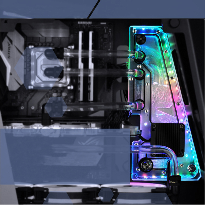 BYKSKI Acrylic Board Water Channel Solution use for Zidli ZG Z10 Computer Case for CPU and GPU Block / 3PIN RGB / Combo DDC Pump цена и фото