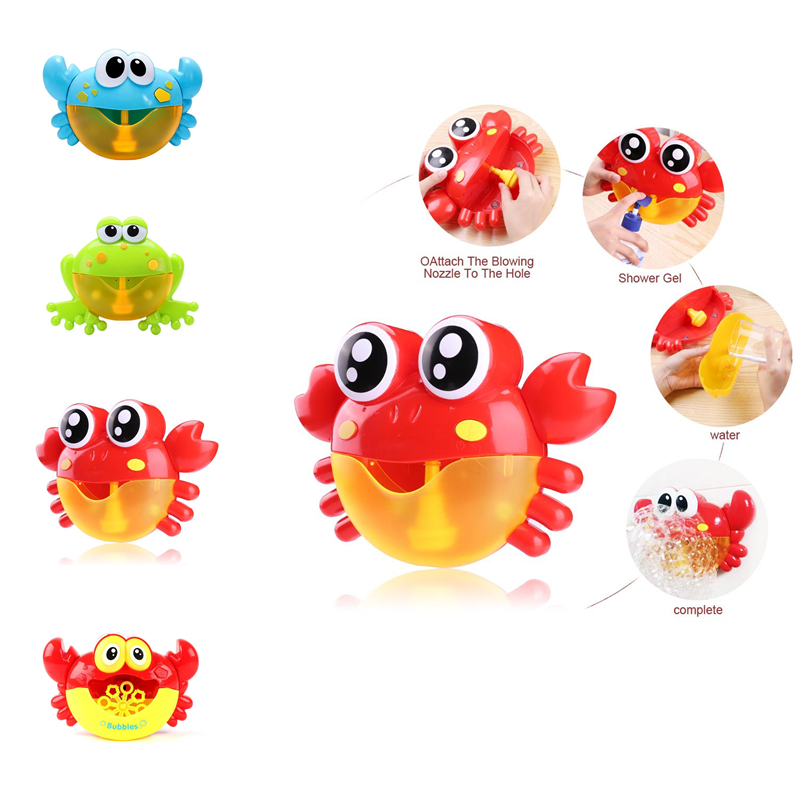 Baby Bath Toys Plastic Frog&Crabs Bubble Machine Funny Music Crab Bubble  Blowing Bubbles Machine Toys for Kids