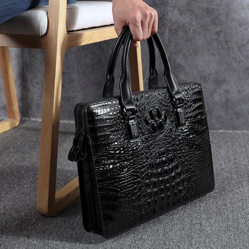 Wmnuo, новый портфель, сумка для мужчин, Сумка с крокодиловым узором, коровья кожа, мужская сумка через плечо, сумка для компьютера, мужская сум... - 2