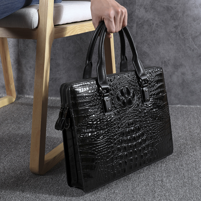 Wmnuo New Briefcase Bag Men Handbag Crocodile Pattern Cow Leather Man Shoulder Messenger Computer Bag Men Crossbody Business Bag - 2