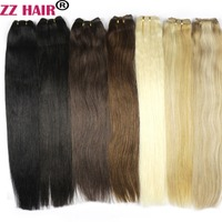 ZZHAIR 100g/pcs 16 24 Machine Made Remy Hair Weft Weaving 100% Human Hair Extensions Straight Natural Silk Non clips Hair