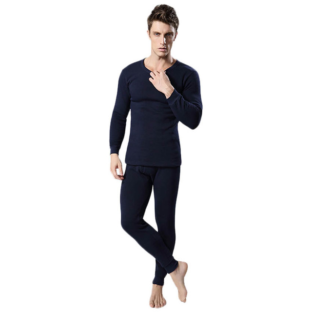 Free shipping Autumn and Winter men's warm underwear suit High quality couple underwear thick Plus velvet Solid color 17yw
