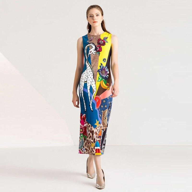 Для женщин животных Олень Печать мультфильм свободные линии хлопок длинный Шелковый kawaii летнее платье vestidos без рукавов платья для пляжного