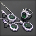Wedding 925 Sterling Silver Green Created Emerald Wihte Topaz Jewelry Sets For Women Pendant/Necklace/Chain/Rings Free Gift Box