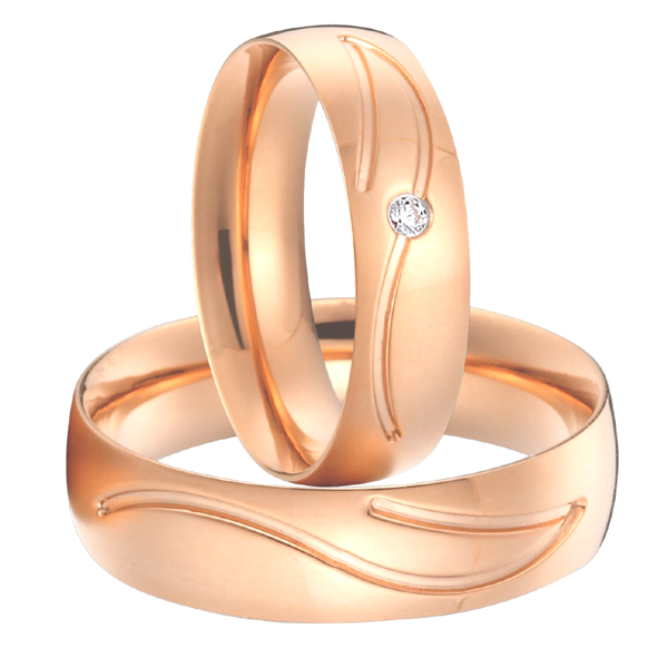 Anniversary alliances anel rose gold color titanium steel jewellery wedding bands promise rings sets for couples