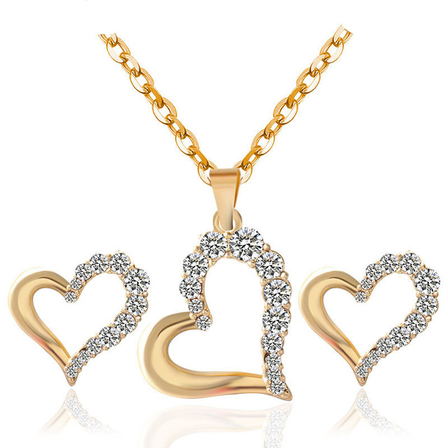 Fashion Cute Heart Crystal Earrings Necklace Set gold Silver Color Chain Jewelry  Sets For Women 8ee03a554933