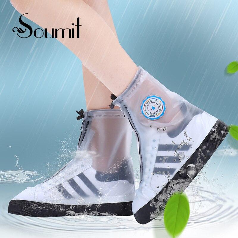 Soumit PVC moda impermeable lluvia cubierta del zapato para hombres mujeres zapatos Protector reutilizable Boot Covers Overshoes botas Accesorios
