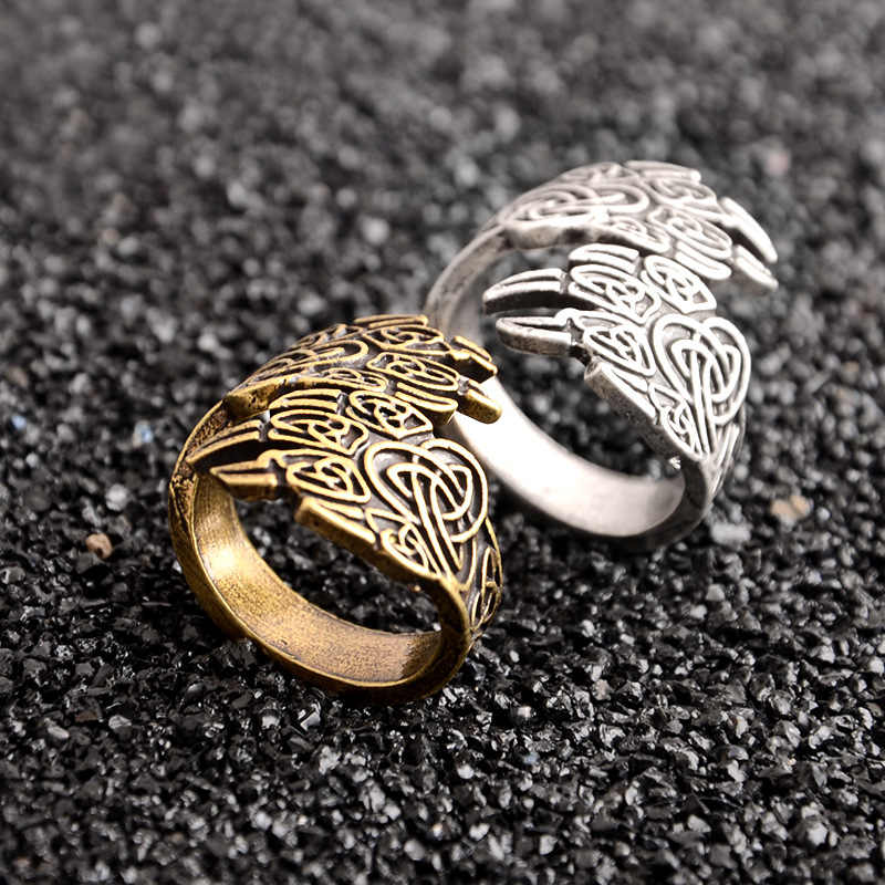 1pcs Antique Silver Gold Norse Runes Viking Bear Wolf Paw Ring Adjustable For Men Women Nordic Gothic Adjustable Amulet Jewelry