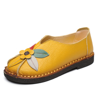 LISM Women's Shoes Genvine Leather Flat casual shoes Flower 2018 new spring and autumn low to help wild students warm muffin