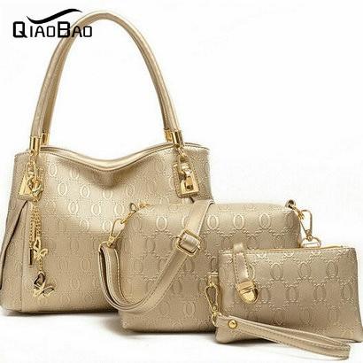 QIAO BAO women handbags genuinet leather handbag women messenger bags brand designs bag bags Handbag+Messenger Bag+Purse 3 Sets