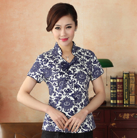 Vintage Blue Flower Chinese Style Blouse Summer Cotton Short Sleeve Shirt Tops Floral Blusas Femininas S