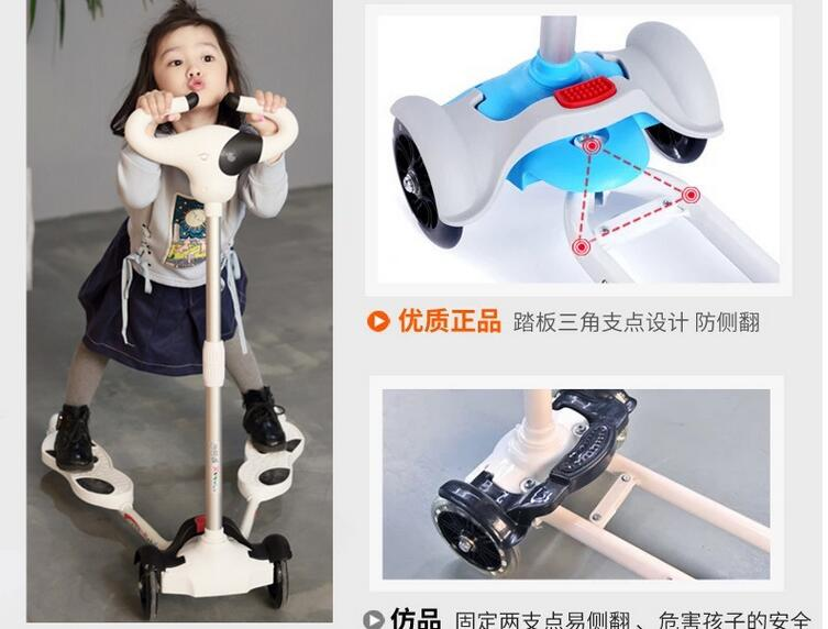 Children Bicicleta Scooter Toys 4 Wheels Outdoor Kid Bike Car Slide Ride On Toy Adjustable Height children scooter 3 wheel folding flash swing car lifting 2 15 years old baby stroller ride bike vehicle children toys gifts