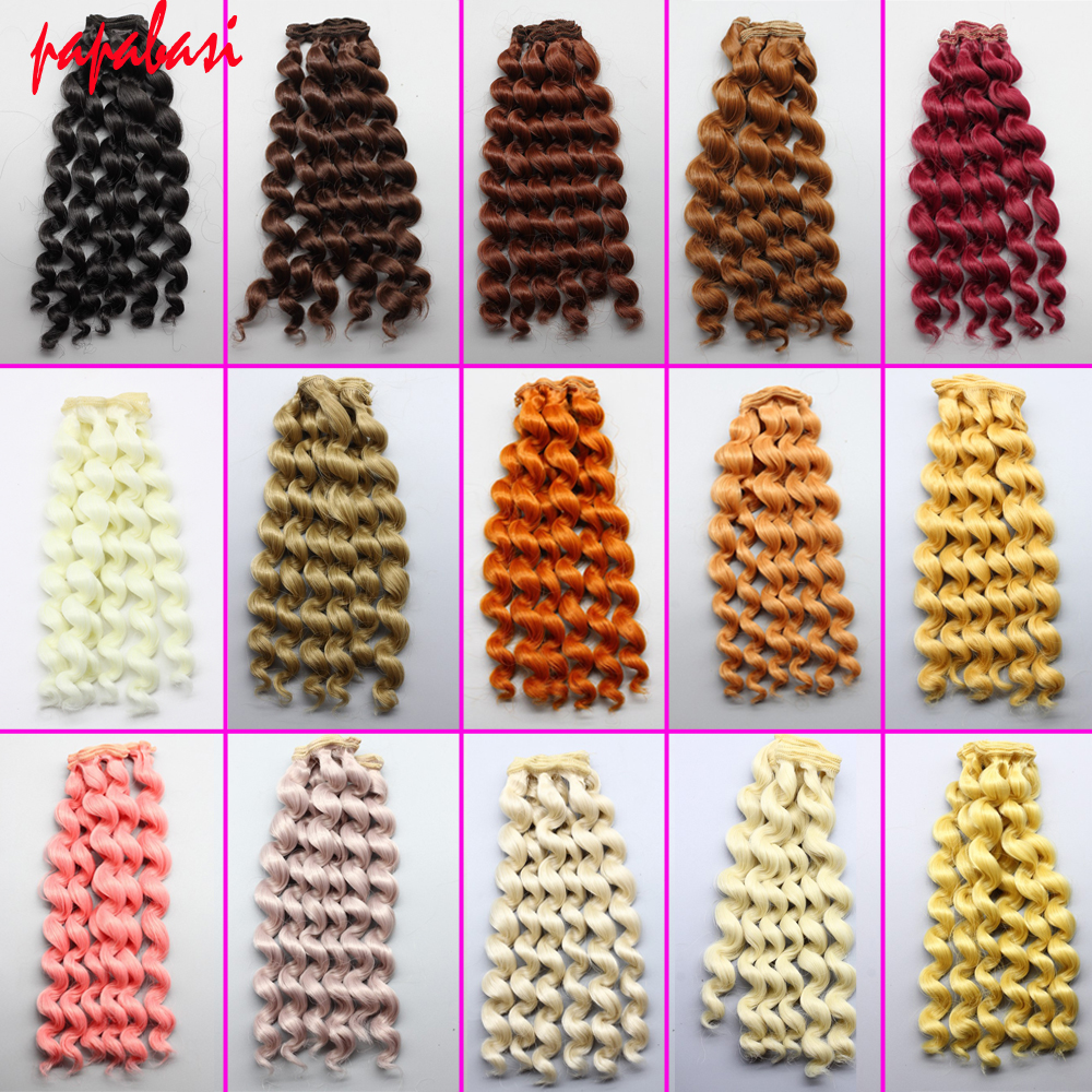 Dolls & Stuffed Toys 1pcs Factory Offer Wholesales 20*100cm Brown Cofffe Bjd/sd Doll Wigs/hair Diy Curly Hair Wig For 1/3 1/4 Bjd Doll Top Watermelons Toys & Hobbies