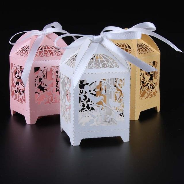 50pcs Laser Cut Love Birds Wedding Favor Candy Gift Box Pink White Golden