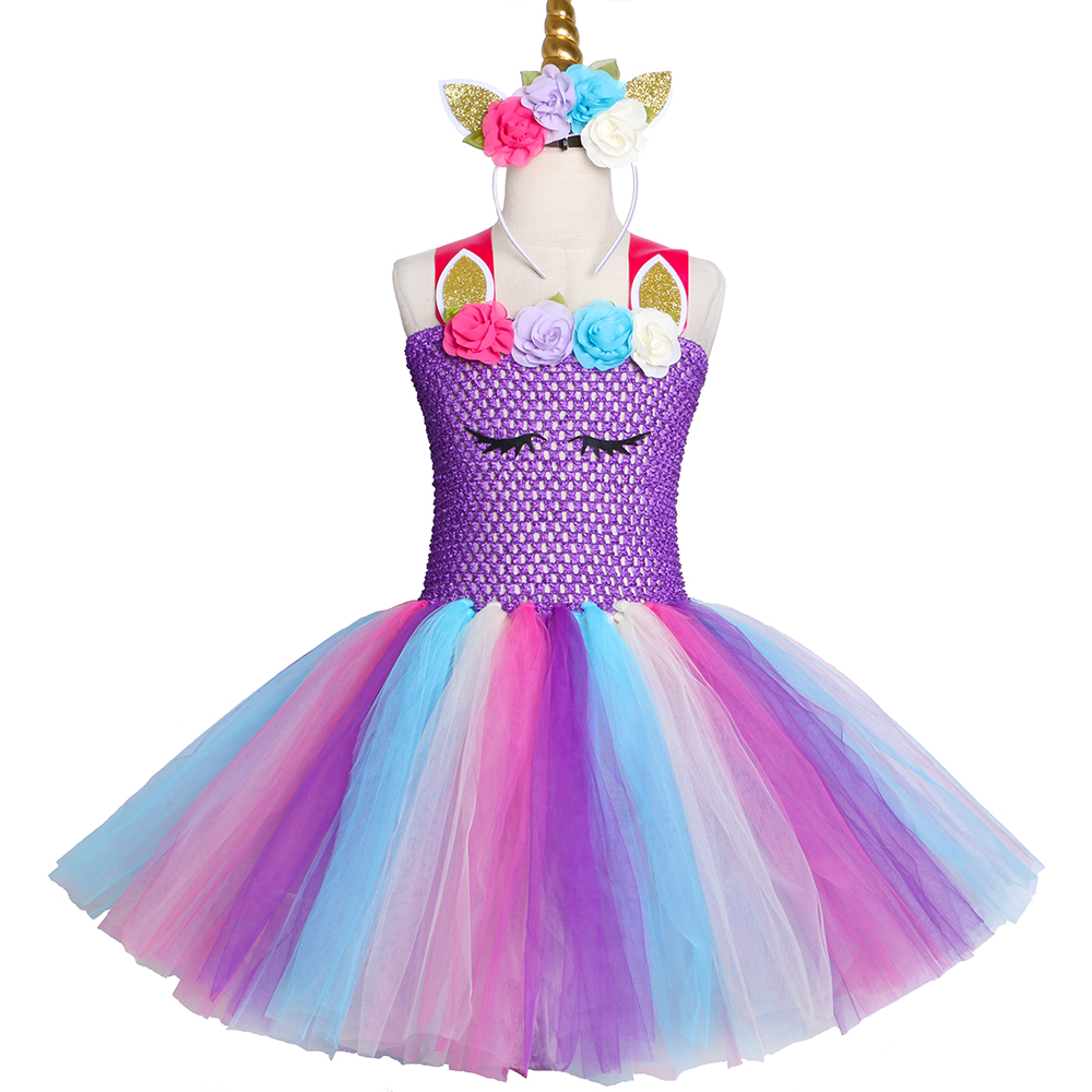 purple pastel girls unicorn tutu dress princess flower