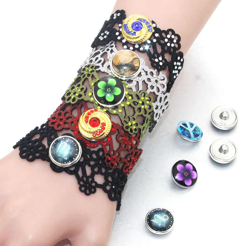 Wholesale 18-20CM Adjustable Vintage Snap Bracelets&Bangles Hollow Leather Charms FIt 18-20mm Snaps Button DIY Jewelry 2207