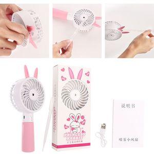 Image 3 - Cute Cat Ear Portable USB Rechargeable Cooler Mini Handy Cooling Fan Desk Pocket Water Mist Cooling Air Humidifier Fan